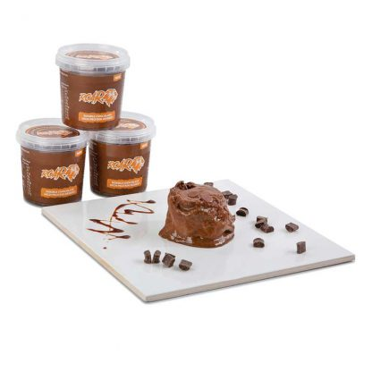 three ROAR low saturated fat chocolate desserts stacked on top of each other with one emptied onto a board in front
