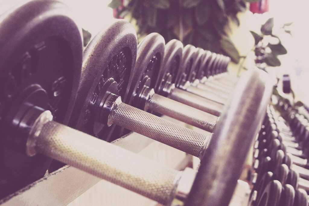 Free weights lined up in a gym