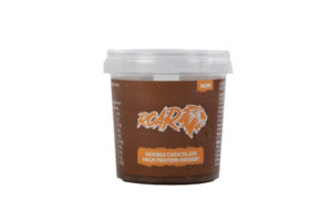 Single pot of ROAR chocolate protein dessert on a white background